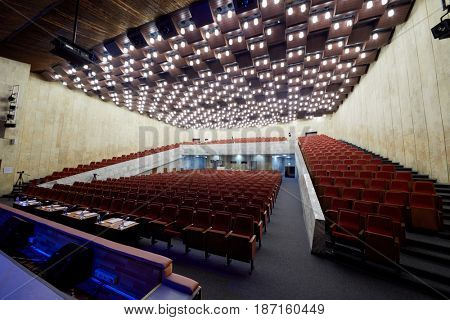 MOSCOW, RUSSIA - FEB 11, 2017: Korolevskiy concert hall before Pole Dance Show. Concert hall is designed for 750 spectators.