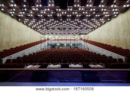 MOSCOW, RUSSIA - FEB 11, 2017: Korolevskiy concert hall before start Pole Dance Show. Concert hall is designed for 750 spectators and is equipped with modern sound and light equipment.