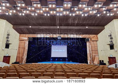 MOSCOW, RUSSIA - FEB 11, 2017: Korolevskiy concert hall before Pole Dance Show. Concert hall located at the foot of the Ostankino TV tower.
