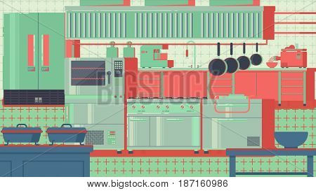 Comfortable kitchen equipped with modern appliances illustration