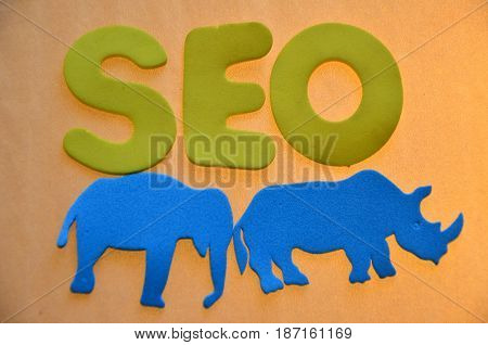 word seo on a  abstract col0o9rful background