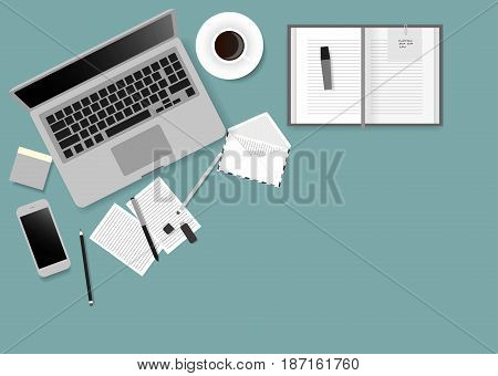 Desks laptop screen vector illustration of business people Top View angle above the office