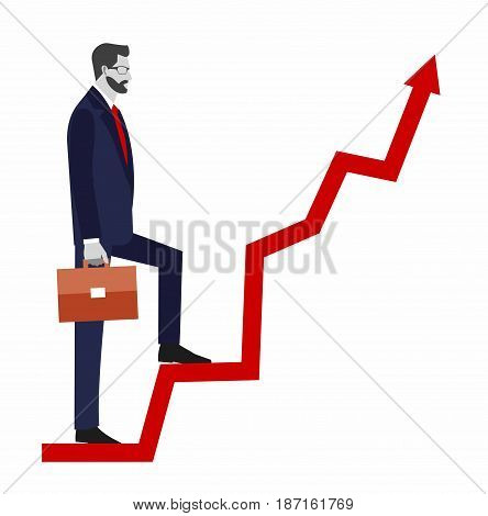 Go up concept, Career ladder, Businessman with suitcase climbing the stairs of success.  Concept for successful business, professional growth, career achievements