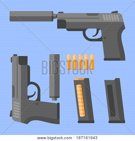 Gun with silencer, magazine and cartridges on blue background. Automatic pistol in flat style. Vector illustration.