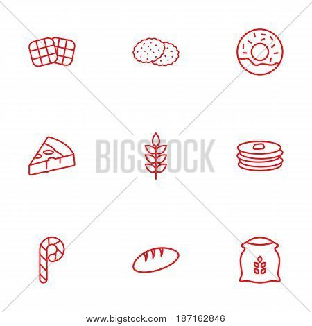 Set Of 9 Bakery Outline Icons Set.Collection Of Waffle, Donuts, Wheat And Other Elements.