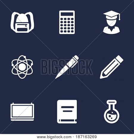 Set Of 9 Education Icons Set.Collection Of Diplomaed Male, Textbook, Rucksack And Other Elements.
