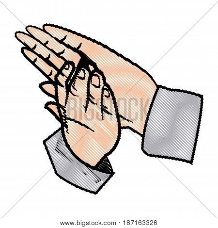 hands man clapping, applause gesture vector illustration