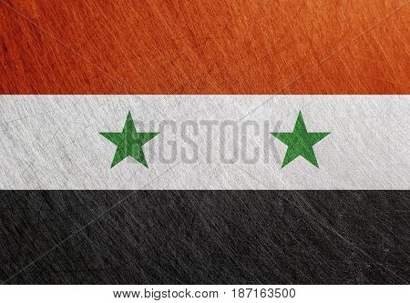 Syria flag vintage retro scratched Steel background.