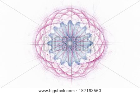 An abstract symbol consisting of lines forming a network of pink circles with a blue flower inside and diverging lines from the center on a light background.