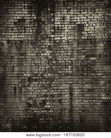 Vintage brick wall. Background, texture of a brick. Free space for your design. A blank for creativity. Photo is Sepia-toned
