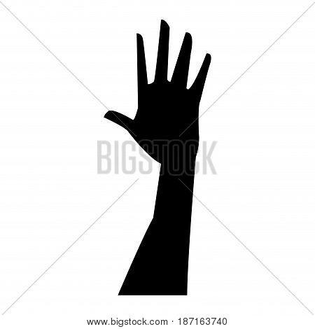 silhouette hand man player sport vector illustration