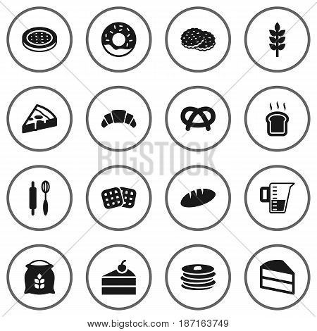 Set Of 16 Stove Icons Set.Collection Of Wafer, Whisk, Doughnut And Other Elements.