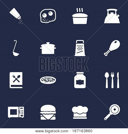 Set Of 16 Cooking Icons Set.Collection Of Saucepan, Eggs, Non-Stick And Other Elements.