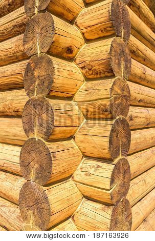 Corner of rural wooden house from logs