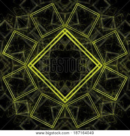 Abstract image of a set of colorless squares with a yellow outline forming a symmetrical pattern on a black background