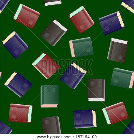 Colored Paper Book Seamless Pattern on Green Background