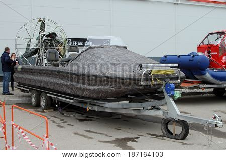 PERM RUSSIA-APRIL 14 2017: Aerology without a cabin on a trailer for transportation. Russia. Perm.