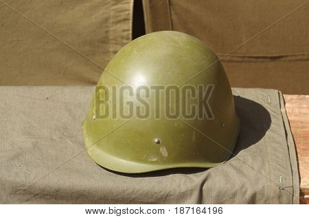 The helmet of a Russian soldier which will protect the head from bullets.