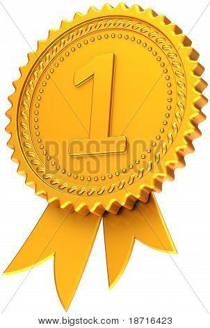 First place award ribbon golden badge