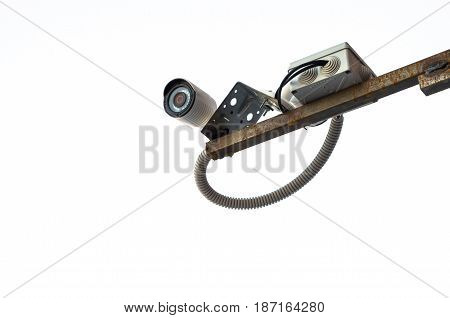 Security camera isolated on white background. Security and privacy concept.