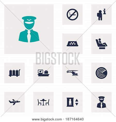 Set Of 12 Airplane Icons Set.Collection Of Radiolocator, Cab, Chopper And Other Elements.