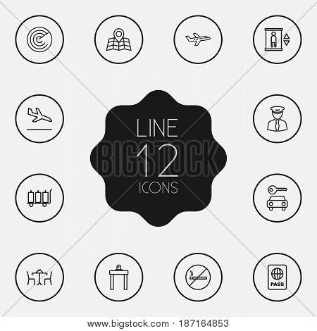 Set Of 12 Airplane Outline Icons Set.Collection Of Elevator, Sit, Cafe And Other Elements.