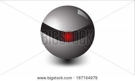 modern abstract 3D metallic ball logo on a white background