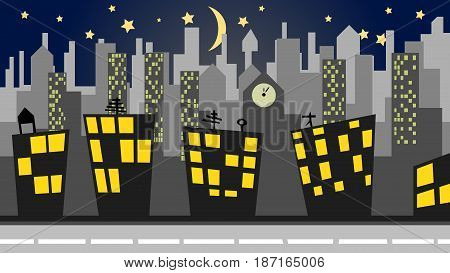 illustration of a cityscape panorama at night depicting urban life