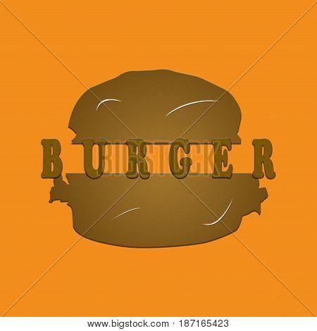 Burger on orange background logo illustration illustrating a concept of food