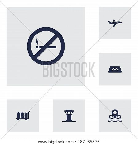 Set Of 6 Aircraft Icons Set.Collection Of Aircraft, Forbidden, Carriage And Other Elements.