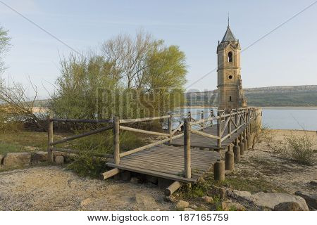The Abandoned Tower Of The Ebro Reservoir In Cantabria