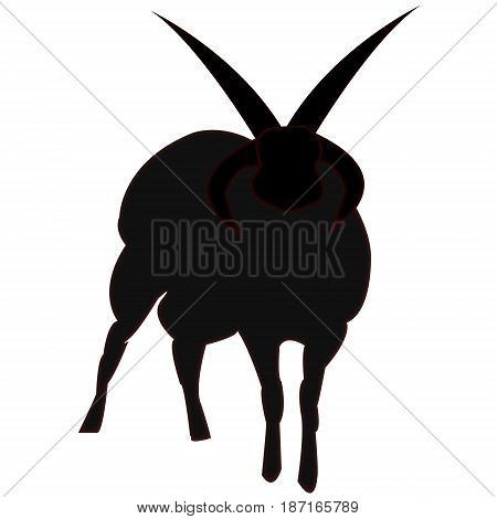 A flat vector illustration of a silhouetted satanic horned sheep.