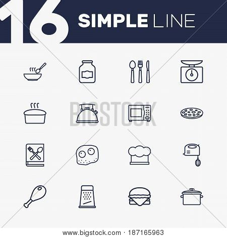 Set Of 16 Cooking Outline Icons Set.Collection Of Jug, Soup, Microwave And Other Elements.