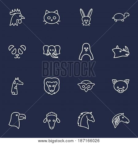 Set Of 16 Beast Outline Icons Set.Collection Of Cock, Eagle, Giraffe And Other Elements.