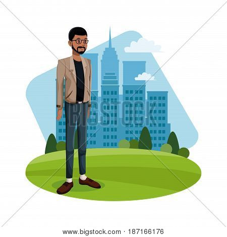 cartoon guy standing grass with city building background vector illustration