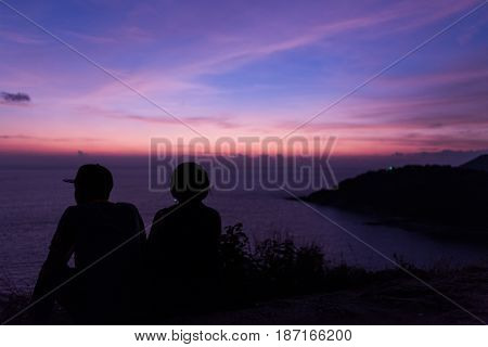 Couple In Romantic Moment With Sea Background
