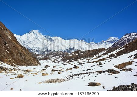 Majestic view of Mt. Cho-Oyu on the way to Cho-Oyu base camp Himalayan Mountains Nepal