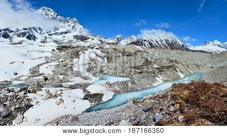 View of the glacier on the way from Gokyo Lakes to Cho-La pass. Himalayan Mountains Nepal.