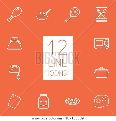 Set Of 12 Cooking Outline Icons Set.Collection Of Omelette, Microwave, Soup And Other Elements.
