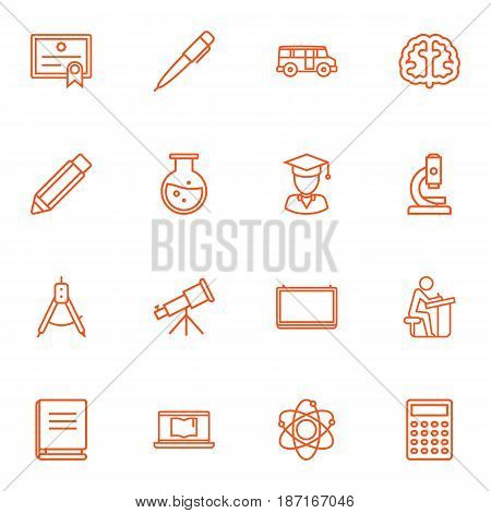 Set Of 16 Education Outline Icons Set.Collection Of Brain, Encyclopedia, Test Tube And Other Elements.