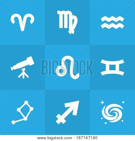 Set Of 9 Horoscope Icons Set.Collection Of Ram, Archer, Space And Other Elements.