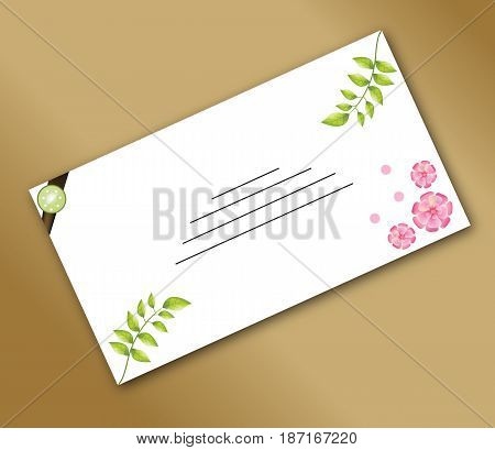 Spring envelope with a beautiful decorative stamp mark the location of the signature spring flowers and leaves