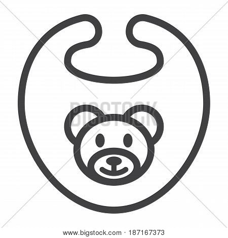 Baby bib line icon, kid and clothes, vector graphics, a linear pattern on a white background, eps 10.