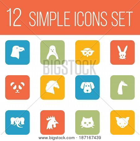 Set Of 12 Alive Icons Set.Collection Of Bunny, Night Fowl, Steed And Other Elements.