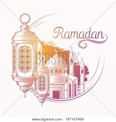 Vector colored illustration for Ramadan Kareem with sketch of Ramadan lantern, towers of mosque isolated on white