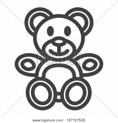 Teddy bear line icon, plush toy and baby, vector graphics, a linear pattern on a white background, eps 10.