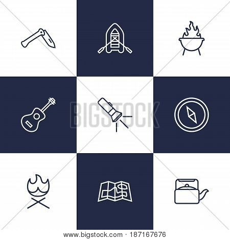 Set Of 9 Outdoor Outline Icons Set.Collection Of Grill, Penknife, Teapot And Other Elements.