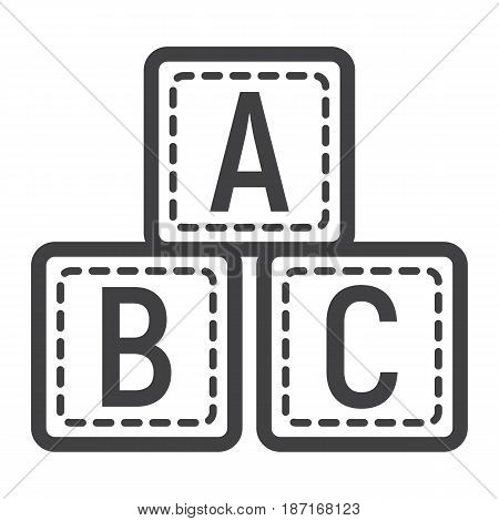 ABC blocks line icon, alphabet cubes and education, vector graphics, a linear pattern on a white background, eps 10.