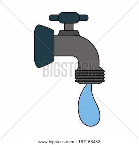 color image cartoon watertap with drop icon vector illustration