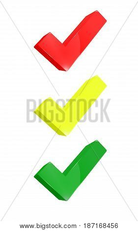 Tick ​​red yellow and green in tryde placed as lights